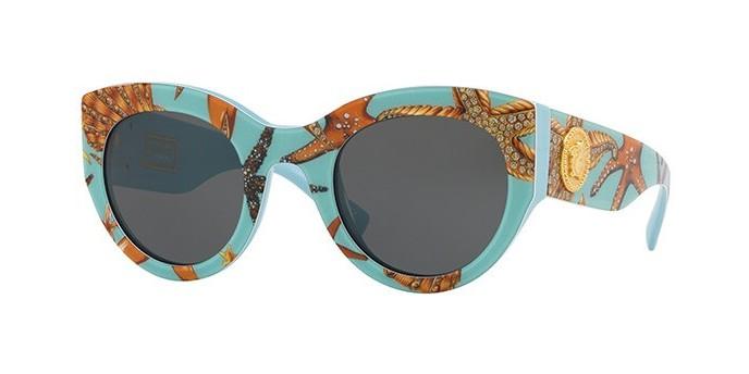 VERSACE VE4353 5284/87 occhiali da sole donna azzurri con motivo, lenti grigie e montatura cat-eye