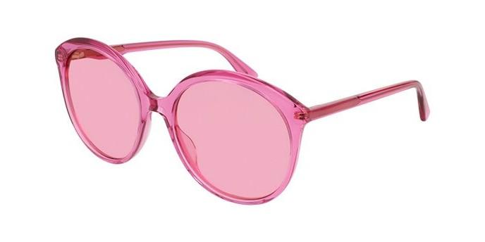 Gucci GG0257S 005ZM occhiali da sole donna, montatura rotonda colore rosa e lenti rosa