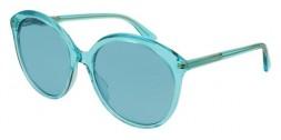 Gucci GG0257S 003ZM occhiali da sole donna, montatura rotonda colore azzurro e lenti azzurre
