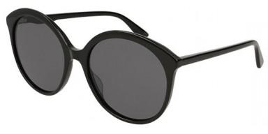 Gucci GG0257S 001ZM occhiali da sole donna, montatura rotonda colore nero e lenti grigie
