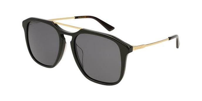 Gucci GG0321S 001B occhiali da sole uomo, montatura quadrata colore nero e lenti grigie