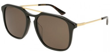 Gucci GG0321S 005VB occhiali da sole uomo, montatura quadrata nera con lenti marroni. Graduabile