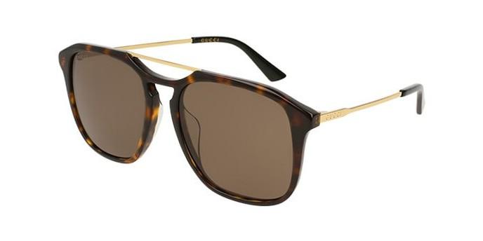 Gucci GG0321S 002VD occhiali da sole uomo, montatura quadrata havana scuro con lenti marroni. Graduabile