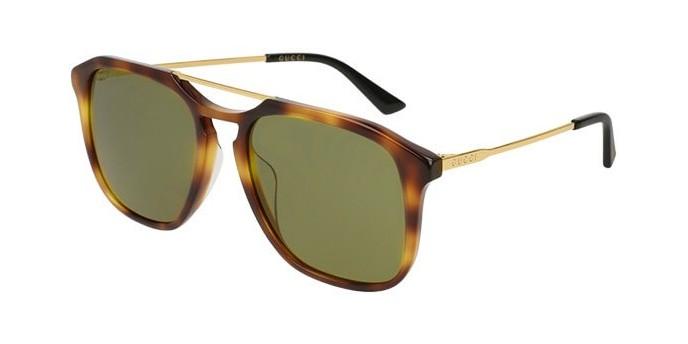 Gucci GG0321S 003VH occhiali da sole uomo, montatura quadrata havana con lenti verdi. Graduabile