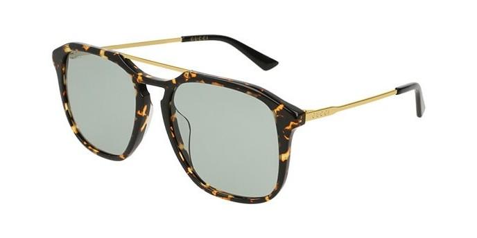 Gucci GG0321S 004VF occhiali da sole uomo, montatura quadrata tartarugata con lenti verdi. Graduabile