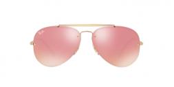 Ray Ban Blaze Aviator RB3584N 9052E4 Gold Frame Pink Mirrored Lenses